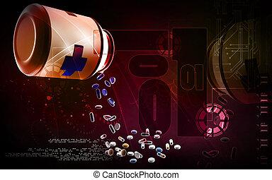 Capsule bottle - Digital illustration of capsule bottle in ...
