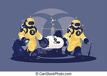 capsule., broń, tracić, promieniotwórczy
