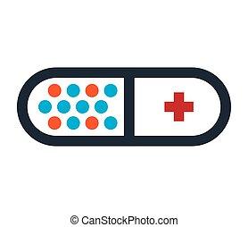 capsule, conception, drogue, icône
