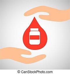 capsule, fles, handen, geneeskunde, beschermen, pictogram