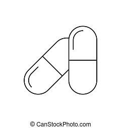 capsule, linea, icona, bianco, pillole, fondo