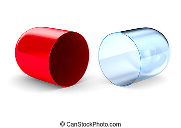 capsule on white background. Isolated 3D image
