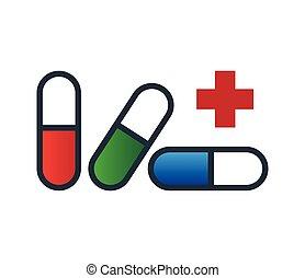 capsule, ontwerp, medicijn, pictogram