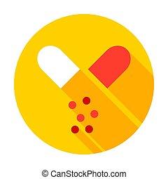 capsule, open, cirkel, pictogram