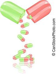 capsule, open, pil