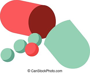 Capsule pill - Flat colour illustration of an open capsule...