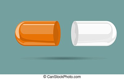 Capsule pill mock up hand drawn cartoon style. Flat and solid color vector illustration.