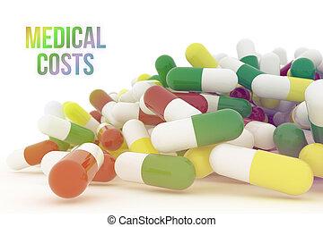 capsule, pillole, costi, medico, isolato, o, interpretazione, fondo, salute, medicina, mazzo, bianco, immagine concettuale, 3d