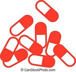 capsule, rood, pictogram