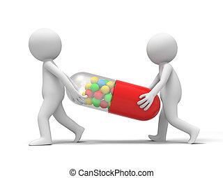 Capsule, two people carrying a capsule