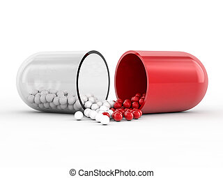 Capsule with drug on white background. 3D