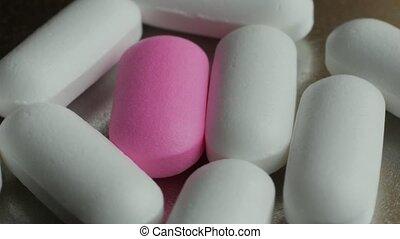 capsules, beaucoup, drugs., arrière-plan., tablettes, médecine, tourner, pilules, argent