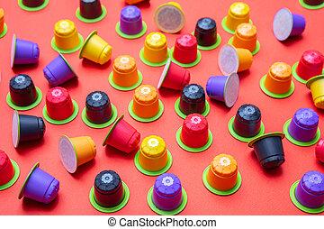 capsules, café, eco, express, compostable, fond couleur,...