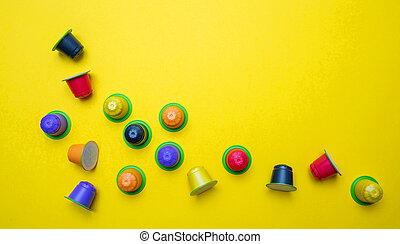 capsules, café, eco, express, compostable, fond jaune,...