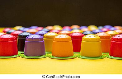capsules, café, eco, express, compostable, jaune, fond...