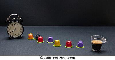 capsules, compostable, horloge, eco, reveil, express, noir,...