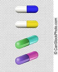 Capsules in different colors illustration