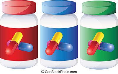 Capsules inside the medical bottles