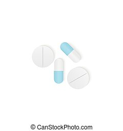 Capsules medicine and pills top view illustration vector on white background. Health concept.