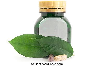 Capsules Pills Bio and Bottle Medicine