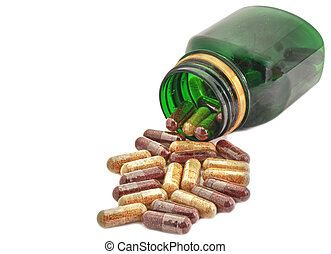 Capsules Pills Medicine with green bottle