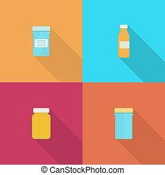 capsules., pirula palack