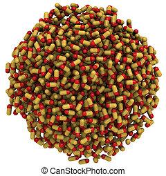 capsules, sphère, arrangé, deux-pièces, (pills)
