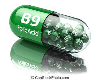 capsules., supplements., vitamina, folic, píldoras, dietético, ácido, b9, element.