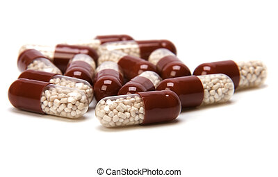 capsules, vrijstaand, op wit, achtergrond