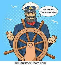 Captain and ship steering wheel pop art vector - Captain...
