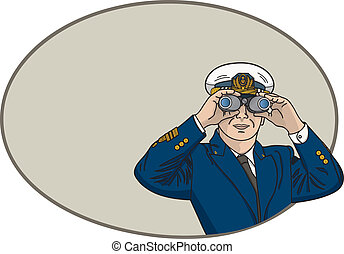 Captain Binoculars - Vector art in Illustrator 8. Ship...