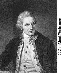 Captain Cook (1728-1779) on engraving from the 1800s....