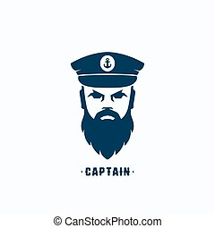 Captain Face Silhouette Vector Logo Template. Seafarer...