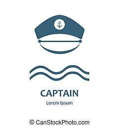 Captain hat flat icon - Captain hat icon. Sailor cap vector...