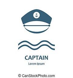 Captain hat flat icon - Captain hat icon. Sailor cap vector...