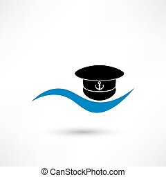 Captain hat icon isolated on white background