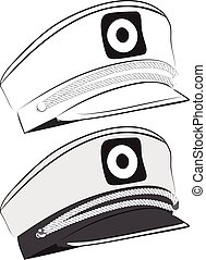 Captain Hat Illustration - Hat of captain, sailor cap...