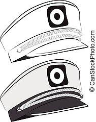 Captain Hat Illustration - Hat of captain, sailor cap...
