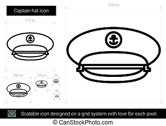 Captain hat line icon. - Captain hat vector line icon...