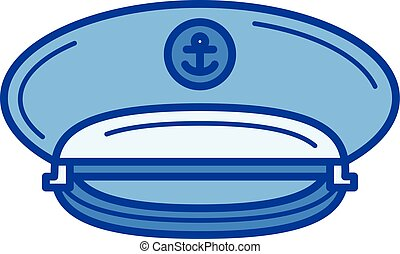 Captain hat line icon. - Captain hat vector line icon...