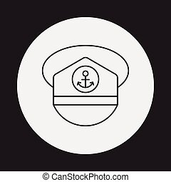 captain hat line icon