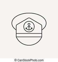 captain hat line icon