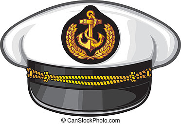 captain hat (nautical captain's hat, vector illustration captains hat, cap captain white uniform)