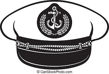 captain hat (nautical captain's hat, vector illustration captains hat, cap captain white uniform)