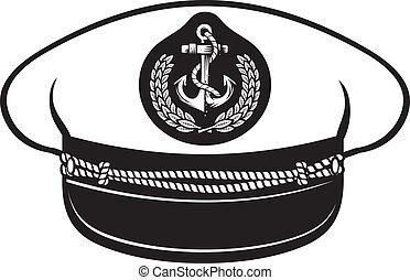 captain hat (nautical captain's hat, vector illustration...