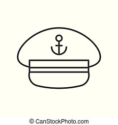 Captain hat outline icon on white background - Captain hat...