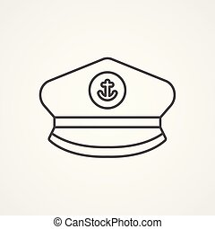 Captain face silhouette vector logo template  seafarer