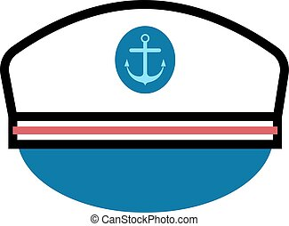 Captain hat with anchor - Captain hat flat vector icon....