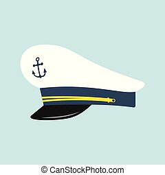Captain hat with anchor emblem. Sailor cap. Vector...
