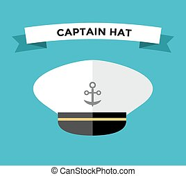 Captain hat with anchor flat vector icon - Captain hat flat...